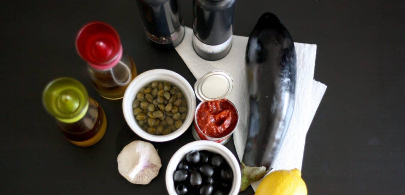 Lilková tapenáda s černými olivami