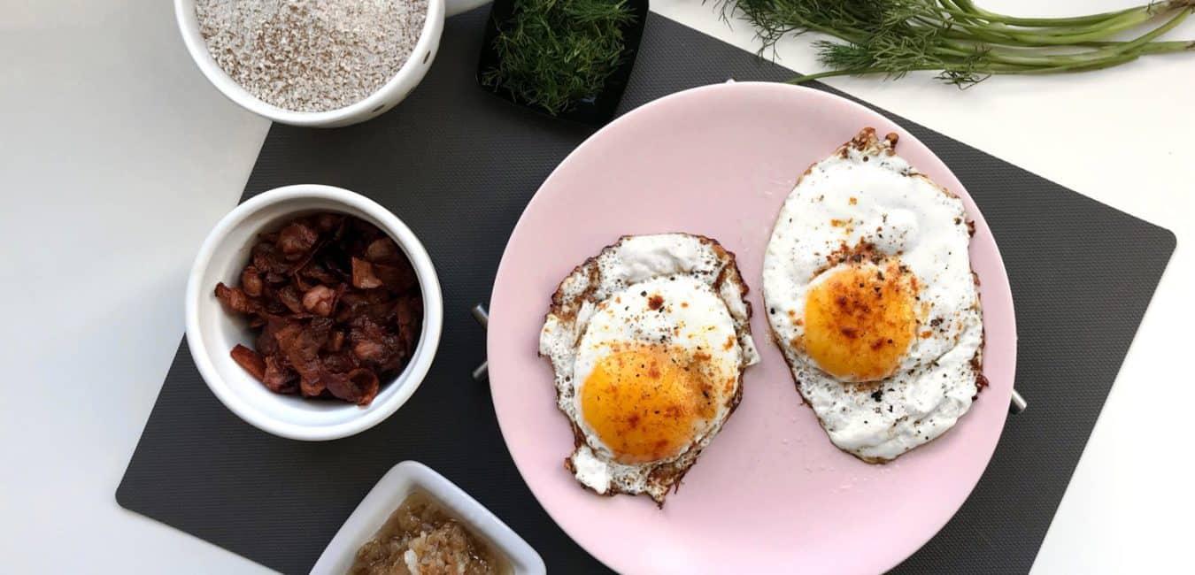 Pohanková kaše se slaninou, čedarem a sázeným vejcem - postup - krok 5