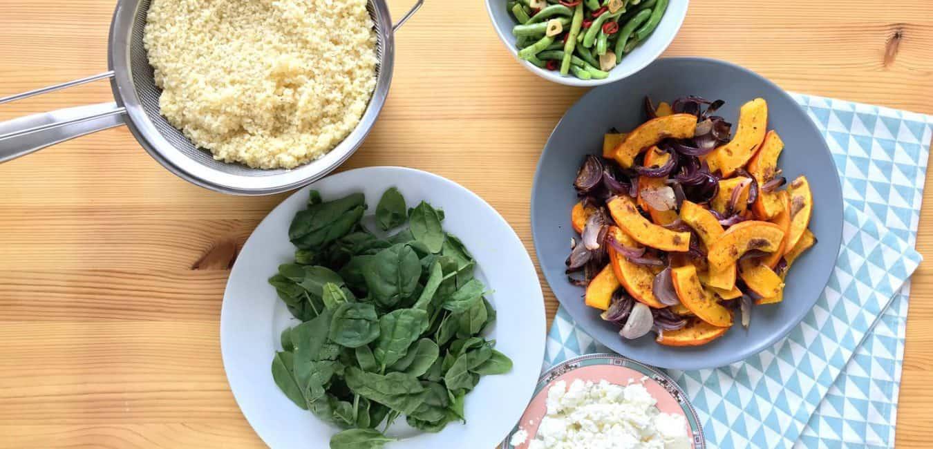 Salát s pečenou dýní, zelenými fazolkami a sýrem feta - postup - krok 5