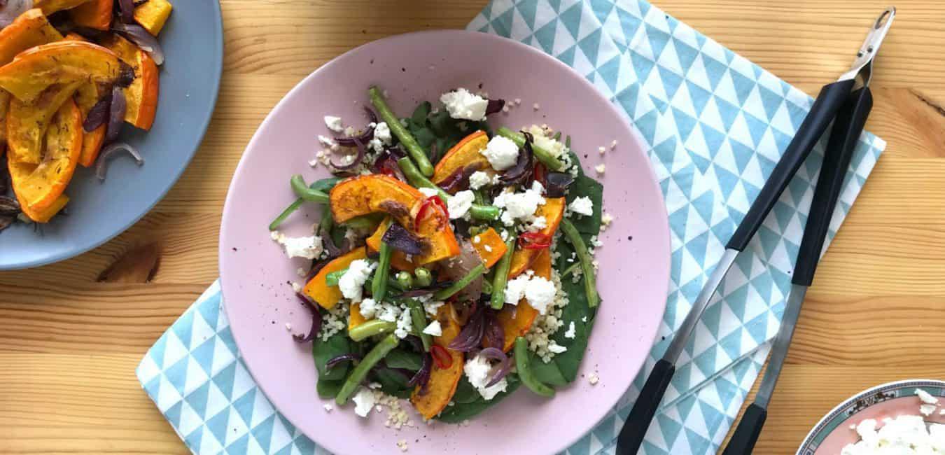 Salát s pečenou dýní, zelenými fazolkami a sýrem feta - postup - krok 6