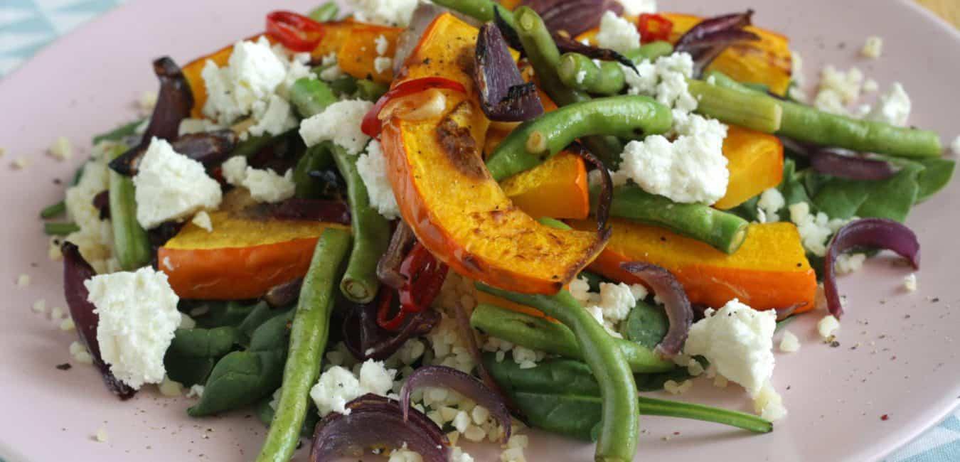 Salát s pečenou dýní, zelenými fazolkami a sýrem feta - postup - krok 7
