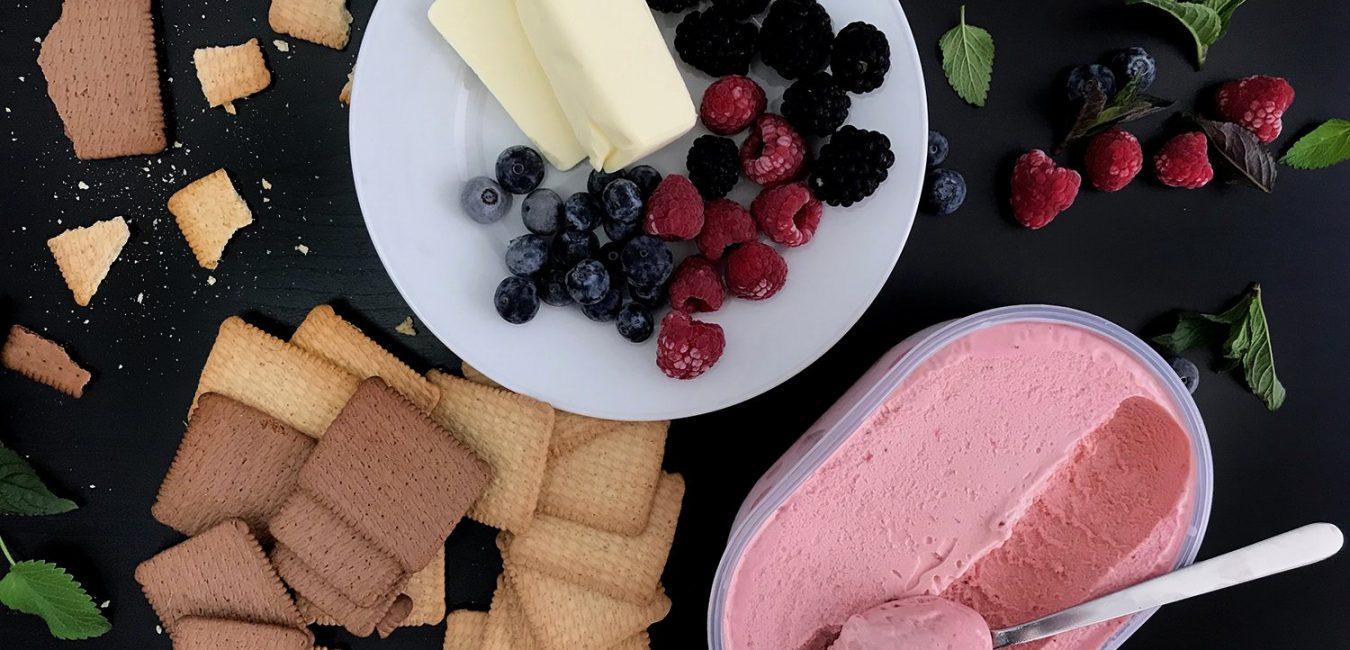 Nepečené zmrzlinové košíčky z másla a sušenek
