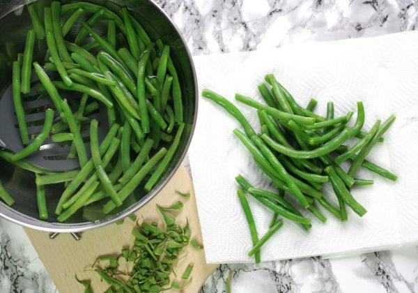 Osušení ochlazených fazolek